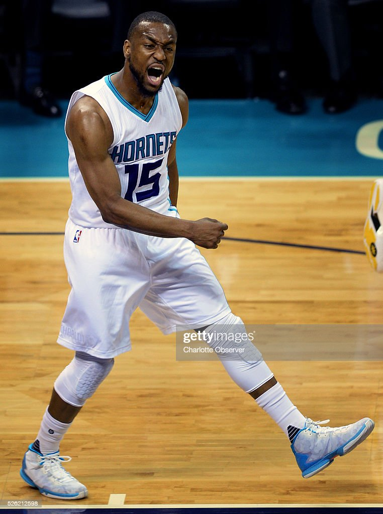 Charlotte Hornets guard Kemba Walker celebrates a basket against the Miami Heat in the first half during Game 6 of the Eastern Conference quarterfinals on Friday, April 29, 2016, at Time Warner Cable Arena in Charlotte, N.C.