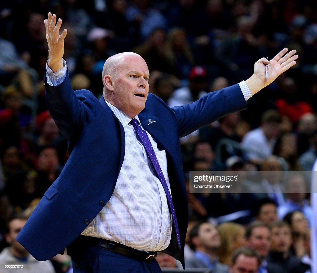 Charlotte Hornets head coach Steve Clifford argues a no-call with official Brett Nansel during first half action against the Chicago Bulls on Monday, March 13, 2017 at the Spectrum Center in Charlotte, N.C.