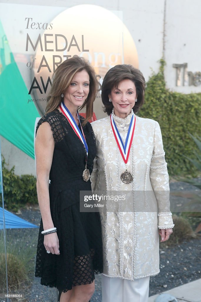 Charlotte Jones Anderson and her mother Gene Jones walk the red carpet before the Texas Medal of Arts Awards show at The Long Center on March 5, 2013 in Austin, Texas.