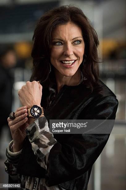Charlotte Jones Anderson poses for a photo as Hublot unveils the Big Bang Dallas Cowboys timepieces at ATT Stadium on November 1 2015 in Arlington...