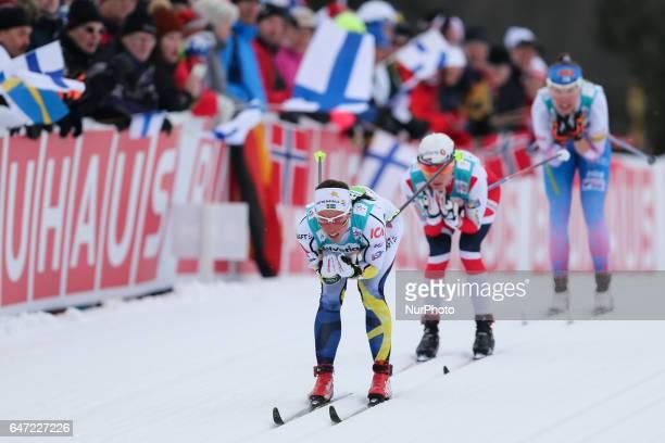 Charlotte Kalla Heidi Weng Kerttu Niskanen compete during the Women's Cross Country 4x5km Relay at the FIS Nordic World Ski Championships on March 2...