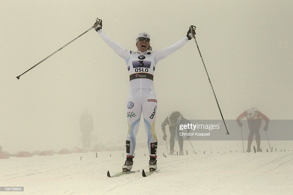 <a gi-track='captionPersonalityLinkClicked' href=/galleries/search?phrase=Charlotte+Kalla&family=editorial&specificpeople=4081474 ng-click='$event.stopPropagation()'>Charlotte Kalla</a> of Sweden celebrates as she crosses the finish line to win the gold medal in the Ladies Cross Country Team Sprint race during the FIS Nordic World Ski Championships at Holmenkollen on March 2, 2011 in Oslo, Norway.