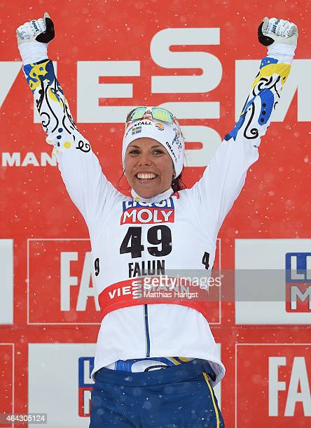 Charlotte Kalla of Sweden celebrates winning the gold medal after the Women's 10km CrossCountry during the FIS Nordic World Ski Championships at the...