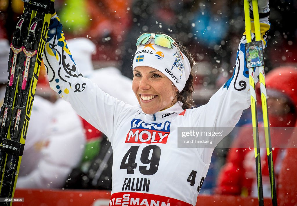 <a gi-track='captionPersonalityLinkClicked' href=/galleries/search?phrase=Charlotte+Kalla&family=editorial&specificpeople=4081474 ng-click='$event.stopPropagation()'>Charlotte Kalla</a> of Sweden celebrates winning the gold medal at the Ladies 10.0 km Individual Free during the World Championship Cross Country on February 24, 2015 in Falun, Sweden.