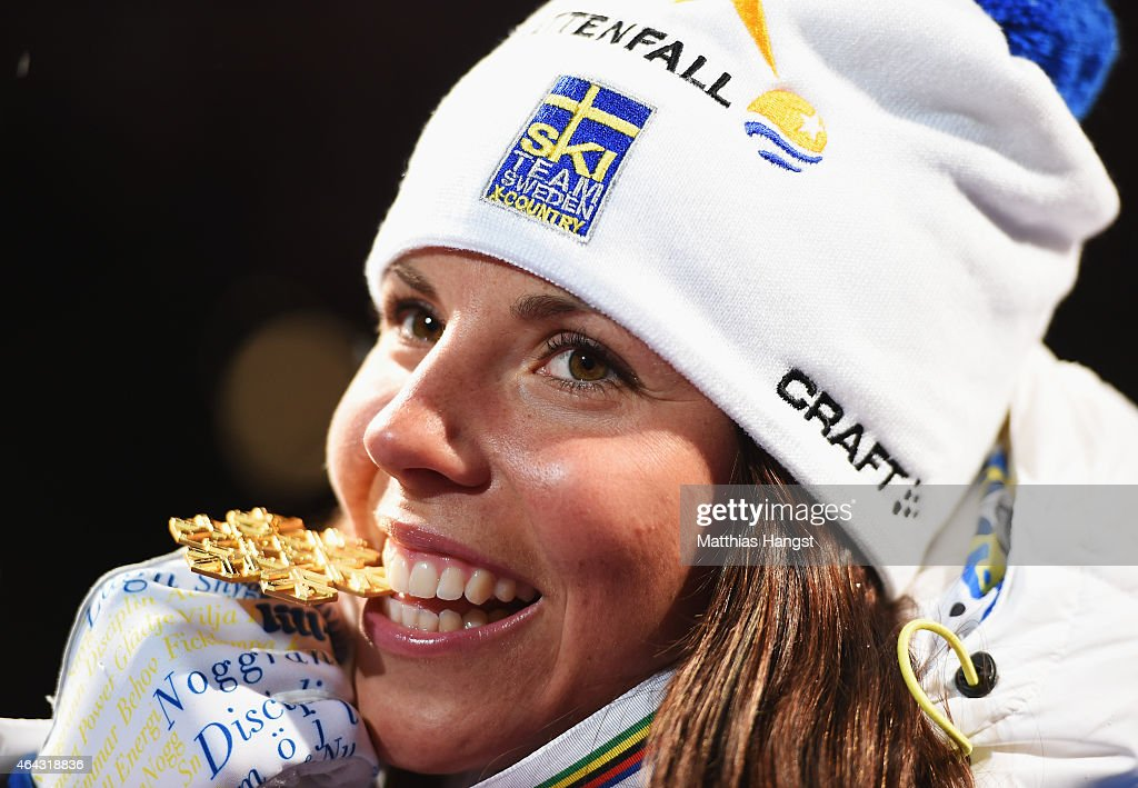 <a gi-track='captionPersonalityLinkClicked' href=/galleries/search?phrase=Charlotte+Kalla&family=editorial&specificpeople=4081474 ng-click='$event.stopPropagation()'>Charlotte Kalla</a> of Sweden celebrates winning the gold medal during the medal ceremony for the Women's 10km Cross-Country during the FIS Nordic World Ski Championships at the Lugnet venue on February 24, 2015 in Falun, Sweden.