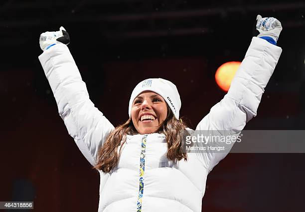 Charlotte Kalla of Sweden celebrates winning the gold medal during the medal ceremony for the Women's 10km CrossCountry during the FIS Nordic World...