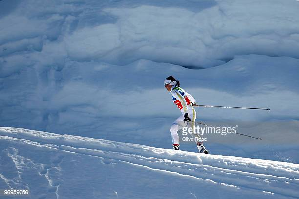 Charlotte Kalla of Sweden competes during the cross country skiing ladies team sprint semifinal on day 11 of the 2010 Vancouver Winter Olympics at...