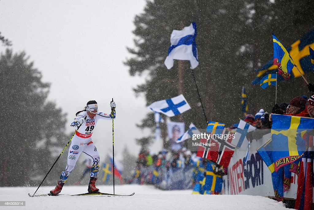 <a gi-track='captionPersonalityLinkClicked' href=/galleries/search?phrase=Charlotte+Kalla&family=editorial&specificpeople=4081474 ng-click='$event.stopPropagation()'>Charlotte Kalla</a> of Sweden competes during the Women's 10km Cross-Country during the FIS Nordic World Ski Championships at the Lugnet venue on February 24, 2015 in Falun, Sweden.