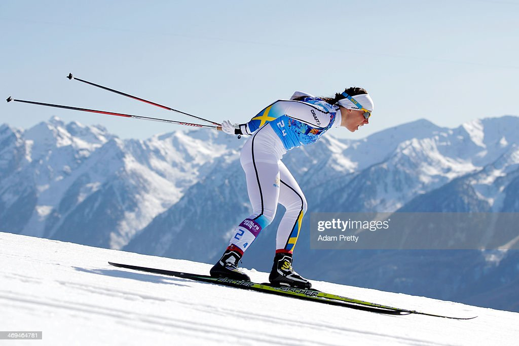 <a gi-track='captionPersonalityLinkClicked' href=/galleries/search?phrase=Charlotte+Kalla&family=editorial&specificpeople=4081474 ng-click='$event.stopPropagation()'>Charlotte Kalla</a> of Sweden competes on the fourth leg in the Women's 4 x 5 km Relay during day eight of the Sochi 2014 Winter Olympics at Laura Cross-country Ski & Biathlon Center on February 15, 2014 in Sochi, Russia.