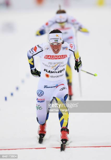 Charlotte Kalla of Sweden crosses the finish line in the Women's 10km Cross Country during the FIS Nordic World Ski Championships on February 28 2017...