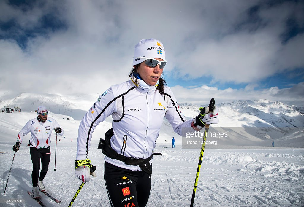 <a gi-track='captionPersonalityLinkClicked' href=/galleries/search?phrase=Charlotte+Kalla&family=editorial&specificpeople=4081474 ng-click='$event.stopPropagation()'>Charlotte Kalla</a> of Sweden during training session on the glacier in Maso Corto, Val Senales, on October 18, 2015 in Val Senales, Italy.
