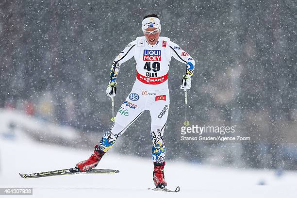 Charlotte Kalla of Sweden takes 1st place during the FIS Nordic World Ski Championships Women's CrossCountry Distance Free on February 24 2015 in...