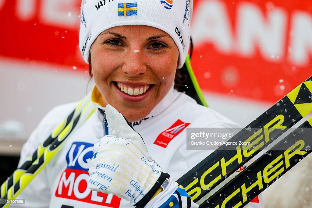 <a gi-track='captionPersonalityLinkClicked' href=/galleries/search?phrase=Charlotte+Kalla&family=editorial&specificpeople=4081474 ng-click='$event.stopPropagation()'>Charlotte Kalla</a> of Sweden takes 1st place during the FIS Nordic World Ski Championships Women's Cross-Country Distance Free on February 24, 2015 in Falun, Sweden.