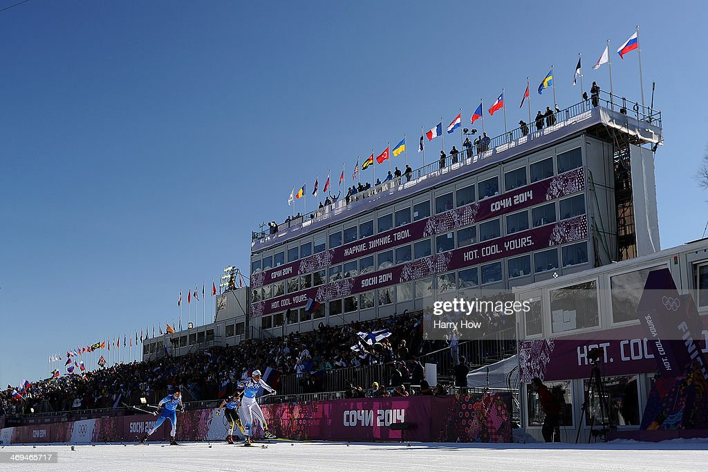 <a gi-track='captionPersonalityLinkClicked' href=/galleries/search?phrase=Charlotte+Kalla&family=editorial&specificpeople=4081474 ng-click='$event.stopPropagation()'>Charlotte Kalla</a> of Sweden (R) takes lead to Krista Lahteenmaki (L) of Finland and <a gi-track='captionPersonalityLinkClicked' href=/galleries/search?phrase=Denise+Herrmann&family=editorial&specificpeople=6670680 ng-click='$event.stopPropagation()'>Denise Herrmann</a> (C) of Germany to corss the finishing line to win the gold medal in the Women's 4 x 5 km Relay during day eight of the Sochi 2014 Winter Olympics at Laura Cross-country Ski & Biathlon Center on February 15, 2014 in Sochi, Russia.