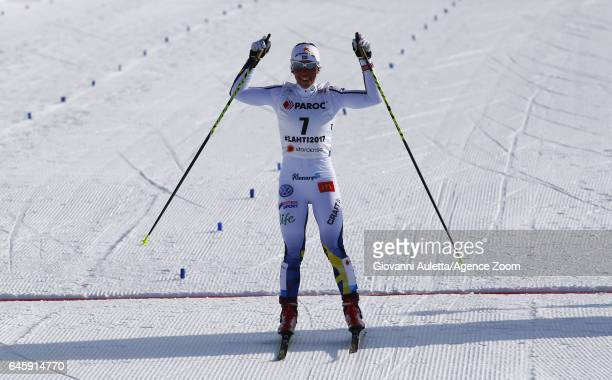 Charlotte Kalla of Sweden wins the bronze medal during the FIS Nordic World Ski Championships Men's and Women's Cross Country Skiathlon on February...
