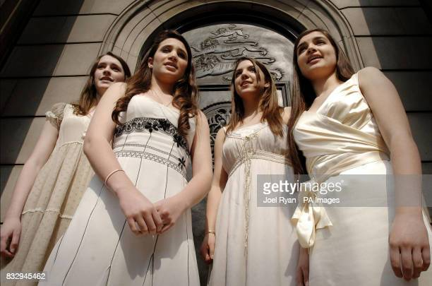 Charlotte Laura Daisy and Melanie of the classical girl group All Angels sing in protest at the image of economist Adam Smith replacing Sir Edward...