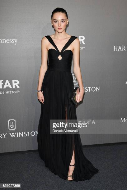 Charlotte Lawrence walks the red carpet of amfAR Gala Milano on September 21 2017 in Milan Italy