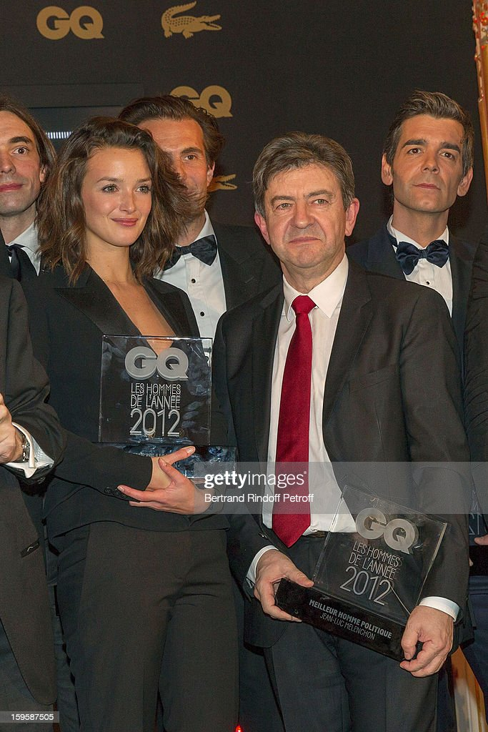 Charlotte Le Bon, Yannick Bollore (Behind Le Bon), Jean-Luc Melenchon and Xavier de Moulins attend the GQ Men of the year awards 2012 at Musee d'Orsay on January 16, 2013 in Paris, France.