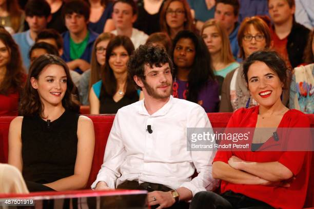Charlotte Lebon Felix Moati and Mazarine Pingeot attend the 'Vivement Dimanche' French TV Show at Pavillon Gabriel on April 30 2014 in Paris France