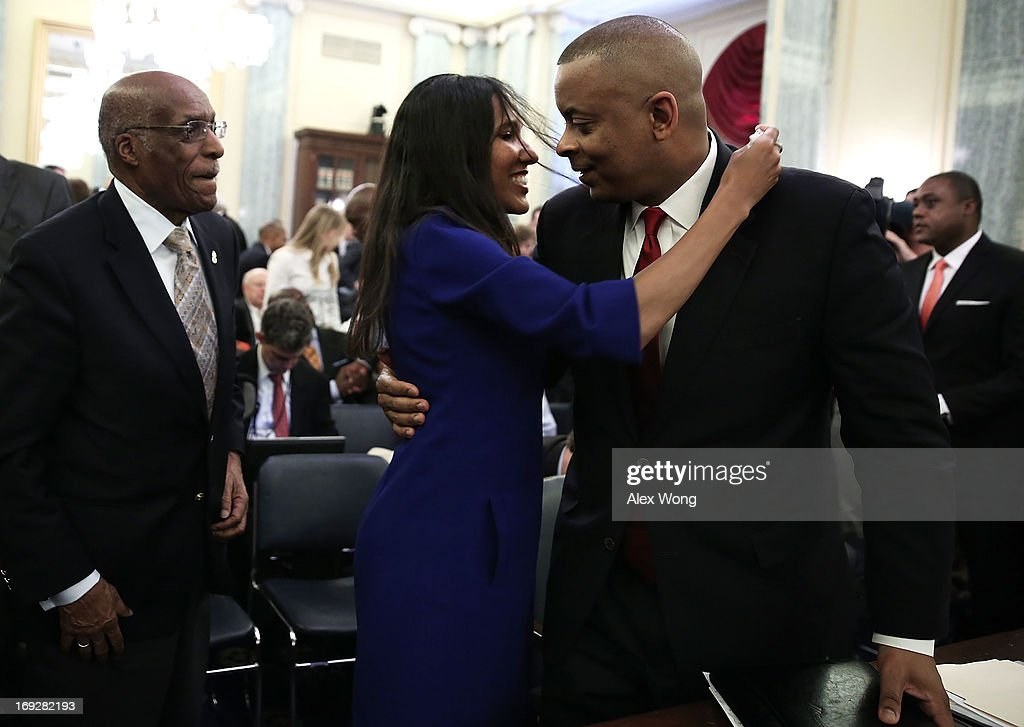 Charlotte Mayor Anthony Foxx (R) is greeted by his wife Samara at the end of his confirmation hearing before the Senate Commerce, Science and Transportation Committee May 22, 2013 on Capitol Hill in Washington, DC. Foxx will succeed Ray LaHood to become the next U.S. Secretary of Transportation if confirmed.