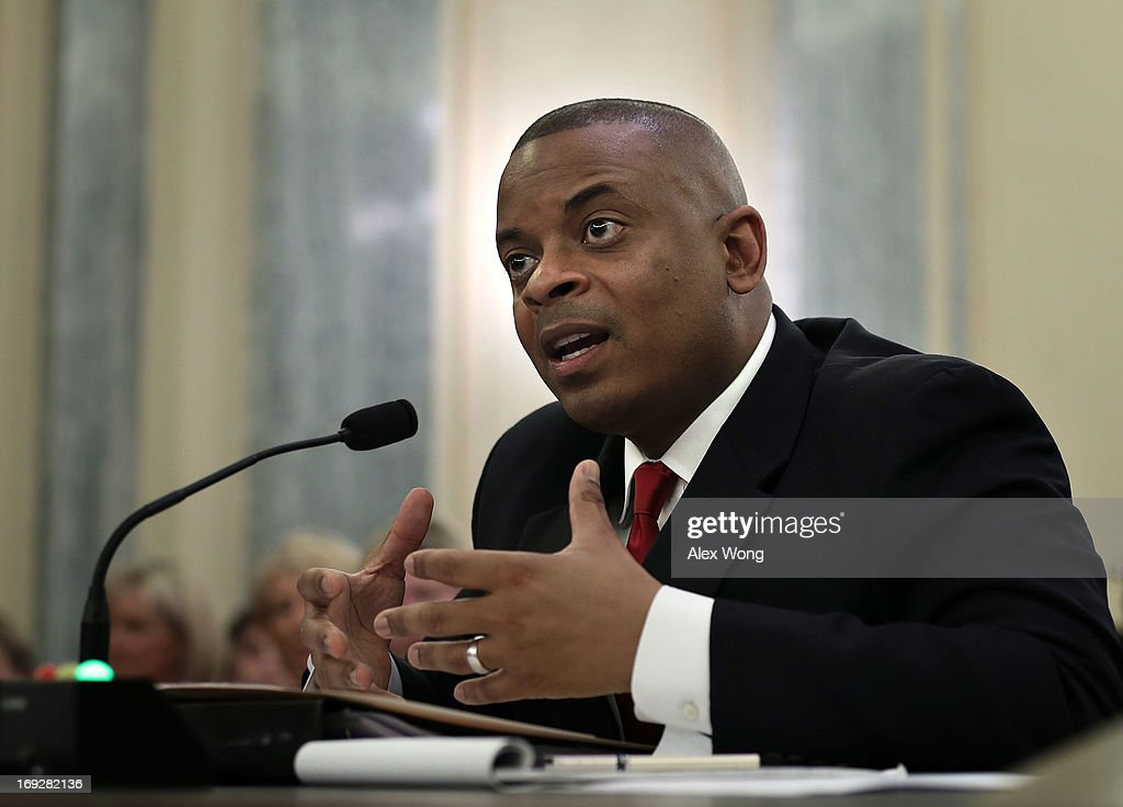 Charlotte Mayor Anthony Foxx testifies during his confirmation hearing before the Senate Commerce, Science and Transportation Committee May 22, 2013 on Capitol Hill in Washington, DC. Foxx will succeed Ray LaHood to become the next U.S. Secretary of Transportation if confirmed.