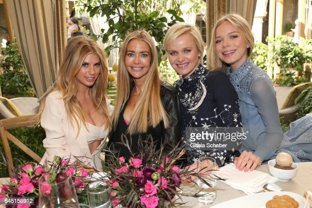 Charlotte McKinney Denise Richards Dr Barbara Sturm and her daughter Charly Sturm during the NetAPorter lunch at hotel Chateau Marmont on February 24...