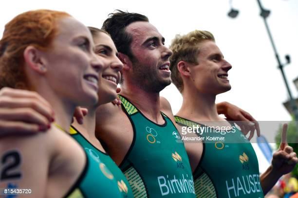 Charlotte McShane Ashleigh Gentle Jacob Birtwhistle and Matthew Hauser of Australia celebrating winning the Elite Mixed Relay at Hamburg Wasser ITU...
