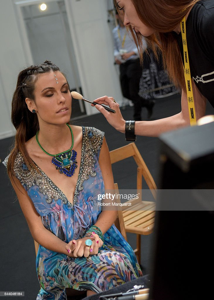 Charlotte Murray poses backstage before the Lola Casademunt show during Barcelona 080 Fashion Week Spring/Summer 2017 at the INFEC on July 1, 2016 in Barcelona, Spain.