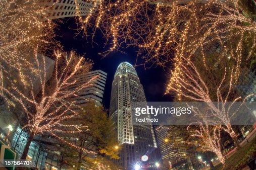 ノースカロライナ州シャーロットのクリスマスの夜景