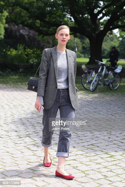 Charlotte Nolting wearing Ysc blazer Levi's vintage trousers Chanel bag Repetto pullover is seen during the MercedesBenz Fashion Week Berlin...