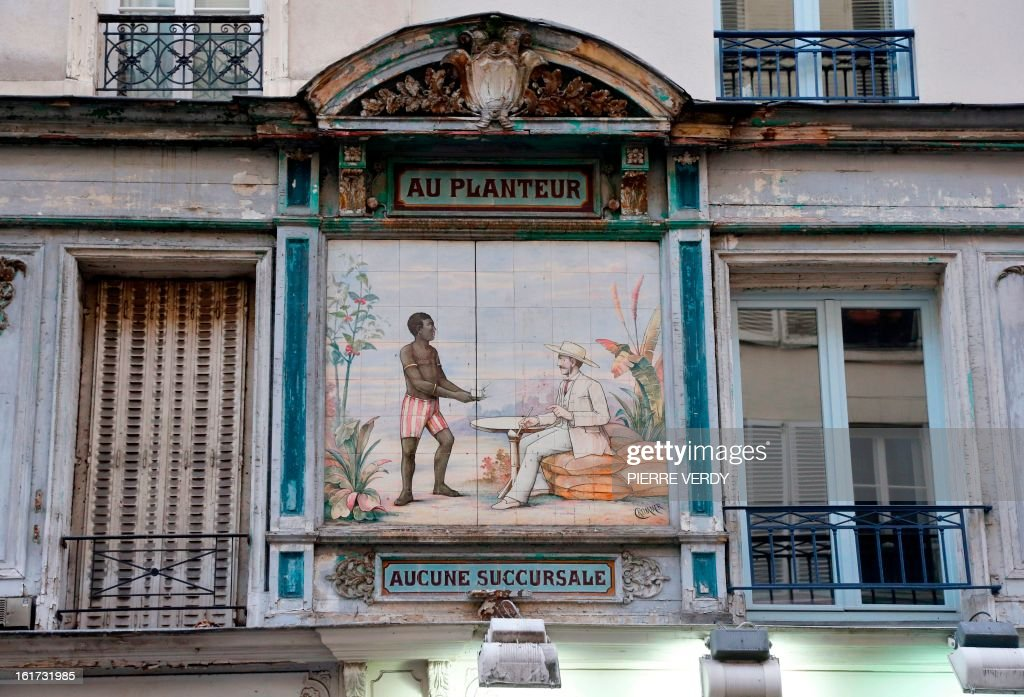Charlotte PLANTIVE A view of a colonialist fresco made with ceramics taken on February 15, 2013 in central Paris.