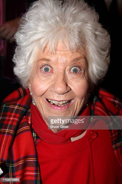 Charlotte Rae poses at the Broadway opening night of 'Priscilla Queen of the Desert The Musical' at the Palace Theatre on March 20 2011 in New York...