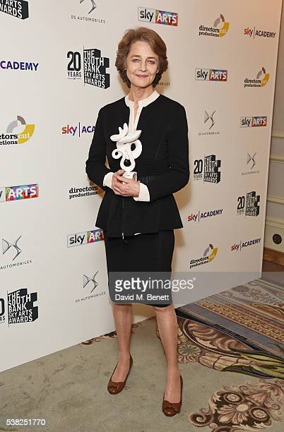 Charlotte Rampling accepting the Film award for '45 Years' poses in the Winner's Room at the The South Bank Sky Arts Awards which airs on Wednesday...