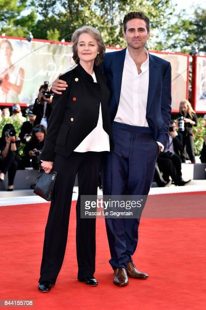 Charlotte Rampling and Andrea Pallaoro walk the red carpet ahead of the 'Hannah' screening during the 74th Venice Film Festival at Sala Grande on...