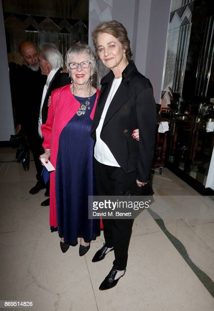 Charlotte Rampling and guest attend the Harper's Bazaar Women of the Year Awards at Claridge's Hotel on November 2 2017 in London England