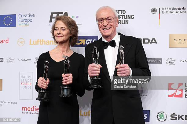 Charlotte Rampling and Sir Michael Caine with award during the European Film Awards 2015 at Haus Der Berliner Festspiele on December 12 2015 in...
