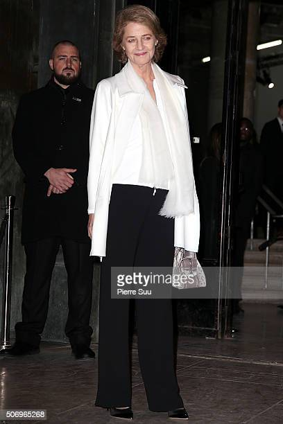 Charlotte Rampling arrives at the Giorgio Armani Prive Haute Couture Spring Summer 2016 show as part of Paris Fashion Week on January 26 2016 in...