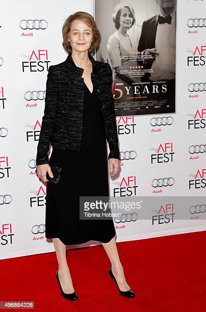 Charlotte Rampling attends a tribute to Charlotte Rampling and Tom Courtenay at AFI FEST 2015 presented by Audi at TCL Chinese Theatre on November 11...