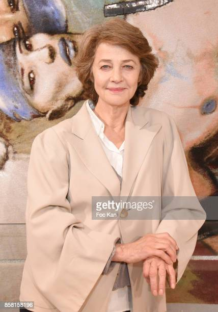 Charlotte Rampling attends 'Tapestry Catry' by Enki Bilal Press Preview on October 5 2017 in Paris France