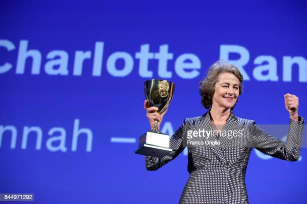 Charlotte Rampling receives the Coppa Volpi for Best Actress Award for 'Hannah' during the Award Ceremony of the 74th Venice Film Festival at Sala...