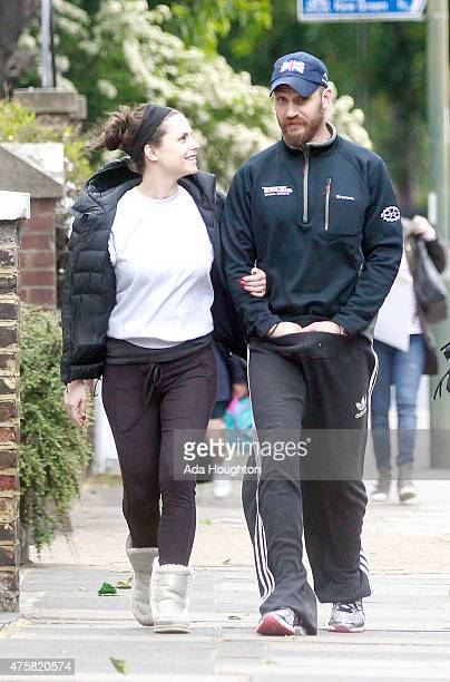 Charlotte Riley and Tom Hardy are seen taking a stroll in London on June 2 2015 in London England