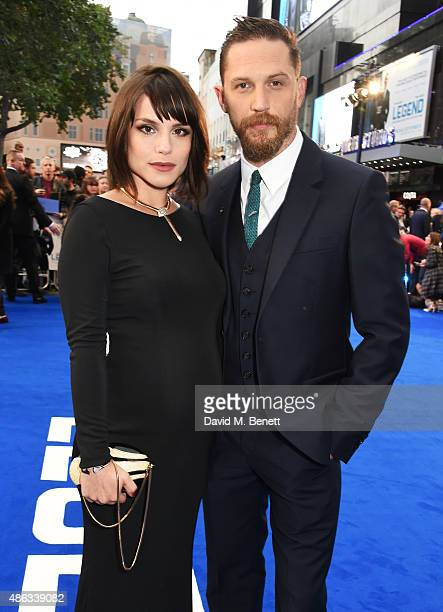 Charlotte Riley and Tom Hardy attend the UK Premiere of 'Legend' at Odeon Leicester Square on September 3 2015 in London England