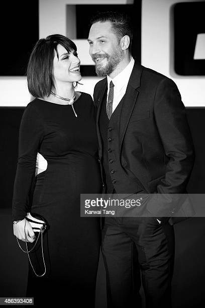 Charlotte Riley and Tom Hardy attend the world premiere of 'Legend' at Odeon Leicester Square on September 3 2015 in London England
