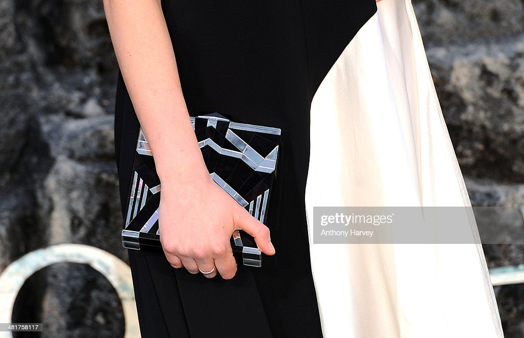Charlotte Ritchie (Bag Detail) attends the UK premiere of 'Noah' at Odeon Leicester Square on March 31, 2014 in London, England.