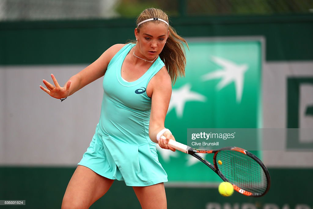 Charlotte Robillard-Millette of Canada hits a forehand during the Girls Singles first round match against Olga Danilovic of Serbia on day eight of the 2016 French Open at Roland Garros on May 29, 2016 in Paris, France.