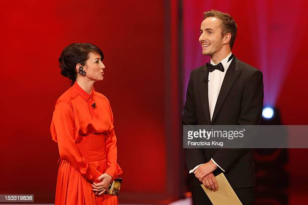 Charlotte Roche and Jan Boehmermann attend the German TV Award 2012 at Coloneum on October 2 2012 in Cologne Germany