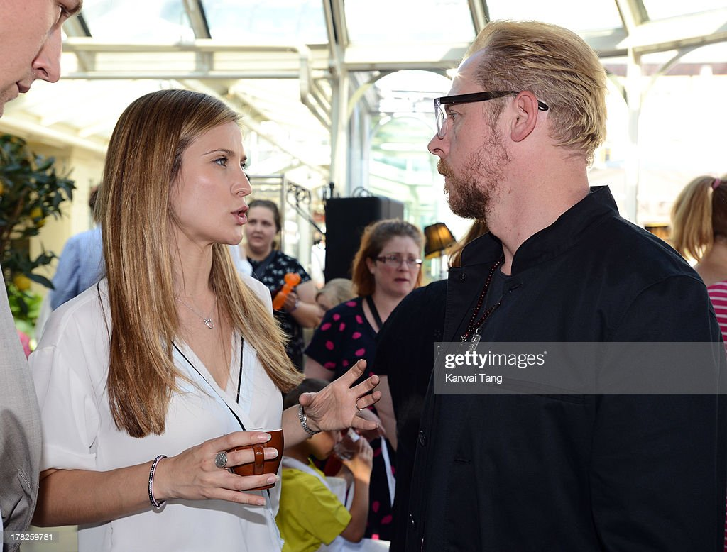 Charlotte Salt and <a gi-track='captionPersonalityLinkClicked' href=/galleries/search?phrase=Simon+Pegg&family=editorial&specificpeople=206280 ng-click='$event.stopPropagation()'>Simon Pegg</a> attend the Launch of a New Childrens App 'Henri Le Worm' held at Brasserie Blanc on August 28, 2013 in London, England.