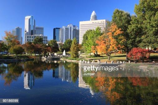 Charlotte skyline and pond, North Carolina