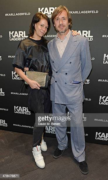 Charlotte Stockdale and Marc Newson attend the Karl Lagerfeld European flagship store launch on March 13 2014 in London England
