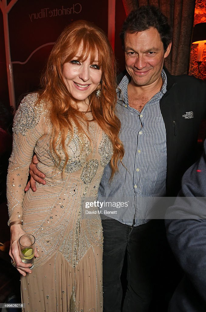 Charlotte Tilbury (L) and Dominic West attend Charlotte Tilbury's naughty Christmas party celebrating the launch of Charlotte's new flagship beauty boutique in Covent Garden on December 3, 2015 in London, England.